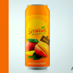 Label designs jars bottles cans Smash Mango Juice can