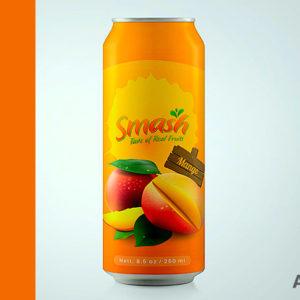 Label designs jars bottles cans Smash Mango Juice can